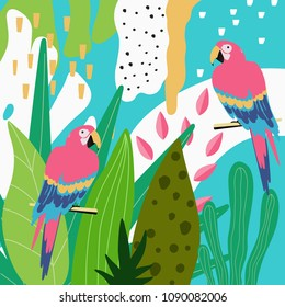 Tropical jungle leaves background with parrots. Summer vector illustration design. Colorful parrots background template. Exotic birds background poster. Tropical leaves art print