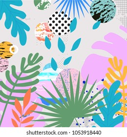 Tropical jungle leaves background. Tropical poster design. Tropical leaves art print. Wallpaper, fabric, textile, wrapping paper vector illustration design