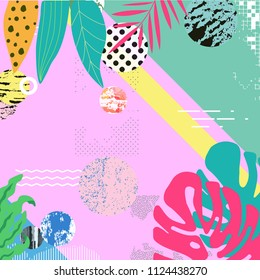 Tropical jungle leaves background. Tropical poster design. Exotic leaves, plants and branches art print. Wallpaper, fabric, textile, wrapping paper vector illustration design