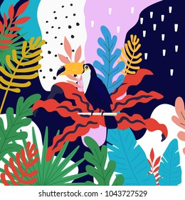 Tropical jungle leaves background with toucan. Summer vector illustration design. Toucan background. Exotic background poster. Tropical leaves art print