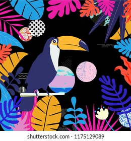 Tropical jungle leaves background with toucan. Colorful tropical poster design. Exotic leaves, plants and branches art print. Toucan bird wallpaper, fabric, textile vector illustration design