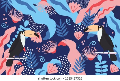 Tropical jungle leaves and flowers poster background with toucan. Colorful exotic leaves, flowers, plants and branches art print. Botanical pattern, wallpaper, fabric vector illustration design