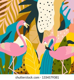 Tropical jungle leaves and flowers poster background with flamingos. Colorful exotic leaves, flowers, plants and branches art print. Botanical pattern, wallpaper, fabric vector illustration design