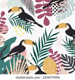 Tropical jungle leaves and flowers poster background with toucans. Colorful exotic leaves, flowers, plants and branches art print. Botanical pattern, wallpaper, fabric vector illustration design