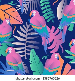 Tropical jungle leaves and flowers poster background with parrots. Colorful exotic leaves, flowers, plants and branches art print. Botanical pattern, wallpaper, fabric vector illustration design