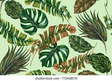 Tropical jungle leaves, palms, monstera leaf vintage floral seamless vector pattern background