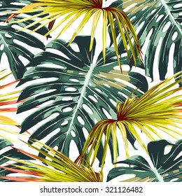 Tropical jungle leaves seamless vector floral pattern background