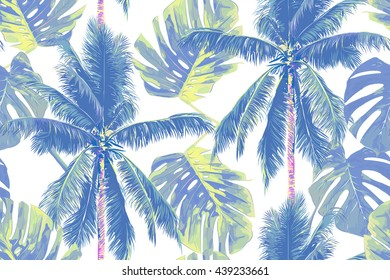 Tropical jungle palm leaves, trees seamless vector floral pattern background