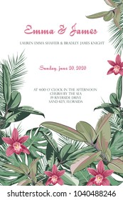 Tropical jungle palm tree leaves with exotic orchid flowers on light background. Text placeholder in the middle. Wedding marriage event invitation. Vector design illustration. Vintage style.