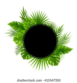 Tropical jungle palm tree leaves card. Circle frame with copy space