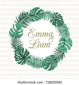 Tropical jungle palm tree monstera leaves round wreath object on light stripes background. Text placeholder in the middle. Wedding marriage event invitation template. Vector design illustration.