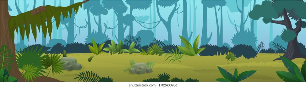 Tropical jungle panorama cartoon vector illustration background. Panoramic game design wild world nature forest, dense vegetation, green high trees, various plants, grass, lianas