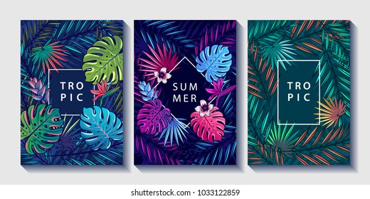 Tropical and jungle plants and flowers design posters set. Palm, monstera leaves, strelitzia and hibiskus flowers. Tropic templates for poster, banner, invitation, cover. Vector illustration.