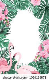 Tropical jungle rainforest green palm tree monstera leaves, orchid phalaenopsis flowers exotic pink flamingo birds. Border frame decoration template for invitation greeting card banner poster.