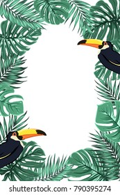 Tropical jungle rainforest green palm tree monstera leaves with exotic toucan bird with big yellow beak. Border frame template. Vertical portrait layout. Place for text. Vector design illustration.