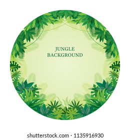 Tropical Jungle Round Frame, Forrest, Plant and Nature, Background