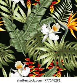Tropical jungle vector flowers and leaves black background. Beach seamless pattern