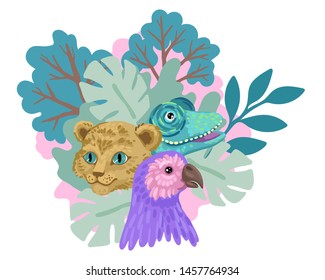 Tropical jungle with wild animals, zoo banner, childish illustration, parrot, chameleon and lion cub. Vector flat cartoon illustration