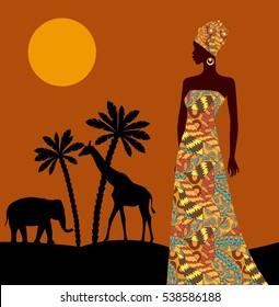 Tropical landscape. Beautiful black woman. African savannah card