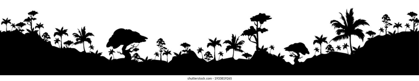 Tropical landscape black silhouette vector illustration. Exotic flora, palm trees and hills. Monochrome rainforest vegetation, jngle plants 2d cartoon shape. Wild forest, natural parkland
