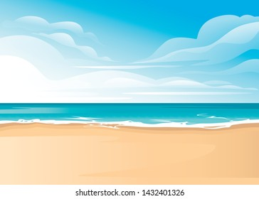 Tropical landscape of coast beautiful sea shore beach on good sunny day flat vector illustration