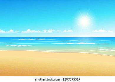 Tropical landscape illustrates summer beach in the daytime.