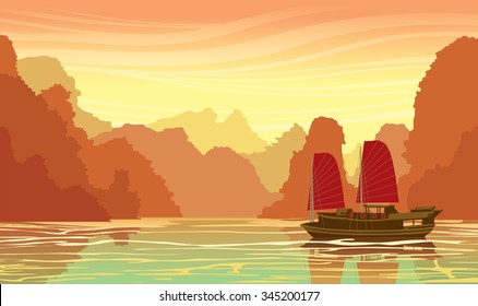 Tropical landscape with limestone rocks and old traditional sailboat in sea bay on a sunset sky. Nature travel vector illustration.