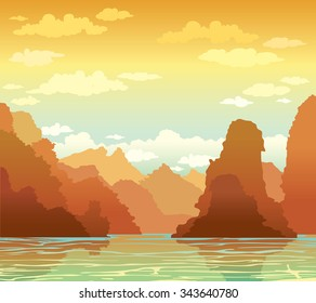 Tropical landscape with limestone rocks and sea bay on a sunset sky background. Nature vector illustration.