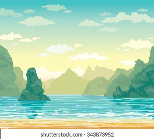 Tropical landscape with limestone rocks and sea bay on a cloudy sky. Nature vector illustration.