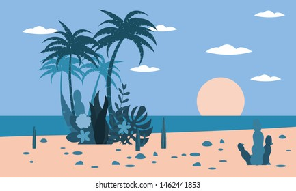 Tropical landscape ocean beach sunset palm trees, plants flora background for banner, greeting card, poster template. Vector illustration in trendy flat style