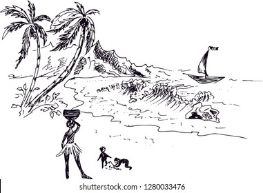 Tropical landscape. Palm trees, the boat, the natives. Vector illustration.