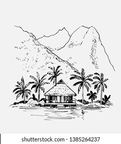 Tropical landscape with palm trees and bungalow. Hand drawn outline