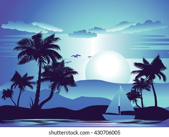 Tropical landscape with palm trees at night.