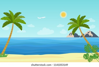 Tropical landscape with palm trees, ocean and mountain. Vector flat style illustration