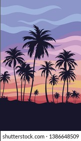 Tropical landscape with palm trees. Sunset on a tropical resort. Evening sky with palm trees. Vector illustration of a subtropical summer landscape.