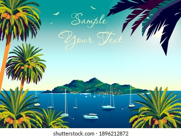 Tropical landscape with palm trees, yachts, island and the sea in the background. Handmade drawing vector illustration. Retro style poster.