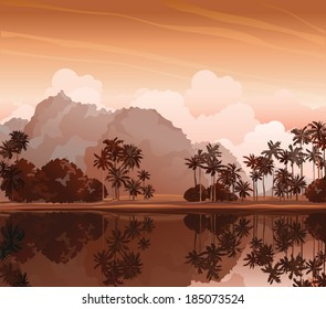 Tropical landscape with palms and reflection in the lake. Nature vector.