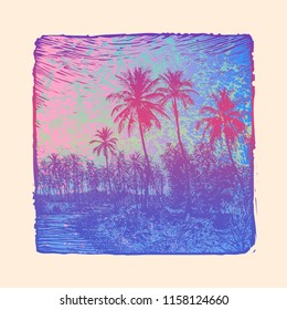 Tropical Landscape With Palms Trees and Abstract Ink-drawn Background. Vector Illustration.