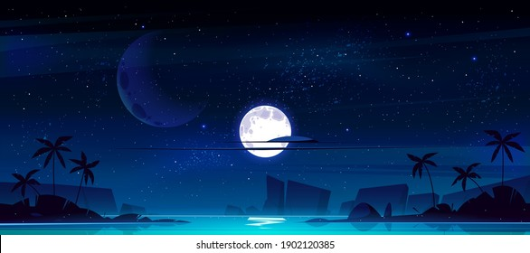 Tropical landscape with sea bay at night. Vector cartoon illustration of seascape with sand beach, silhouettes of palm trees and mountains on horizon, moon and stars in sky