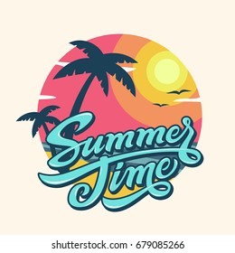 Tropical landscape with summer time lettering. Bright, colorful vector background.