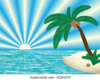 tropical landscape, vector illustration