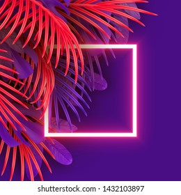 Tropical leaf background. Branch palm realistic. Leaves and branches of palm trees. Orange and violet color foliage, tropic leaves pattern. Neon frame blank space for text, flat lay, view from above.