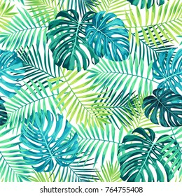 Tropical leaf design featuring green/blue palm and Monstera plant leaves on a white background. Seamless vector repeating pattern.