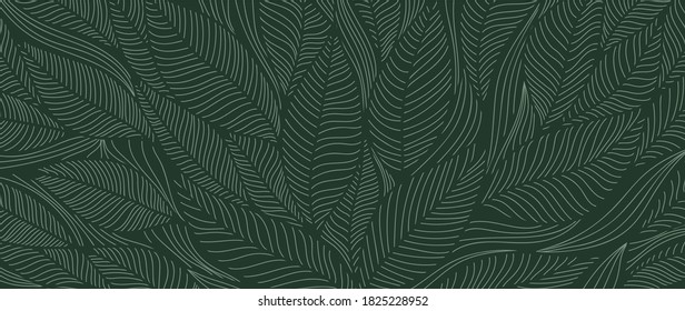 Tropical leaf Wallpaper, Luxury nature leaves pattern design, Golden banana leaf line arts, Hand drawn outline design for fabric , print, cover, banner and invitation, Vector illustration.