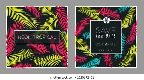 Tropical, leafs card and background design