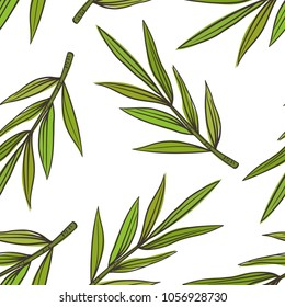 Tropical leave palm tree seamless background in sketchy hand drawn style. Vector illustration