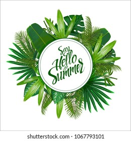 Tropical leaves around the circle on white background with isolated sign Say hello to Summer. Pattern nature. Vector art isolate.