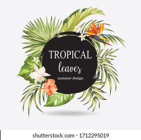 Tropical leaves background. Vector illustration with palm leaves and exotic plants. ESP10