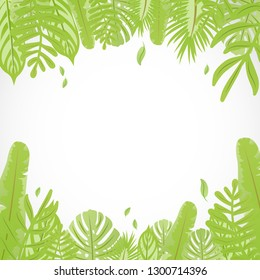 Tropical leaves background for your text vector illustration flat desing