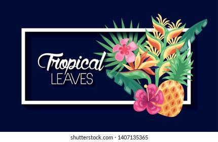 tropical leaves banner exotic flower pineapple dark background vector illustration